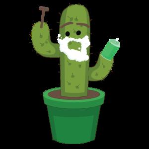 Lustiger Kaktus beim rasieren