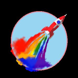 Rocket Spaceship Bright Printed Kinder Grafik