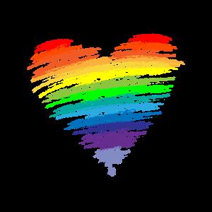Herz Regenbogenfarben LGBT Flower Power