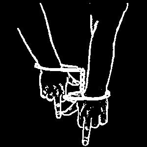 Zwei MittelFinger in Handschellen weiss fu 2