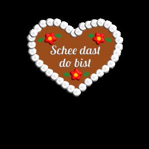 schee dast do bist Lebkuchenherz Bayrisch