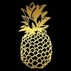 Ananas-T-Stück, Gold-Ananas, tropisches Design,