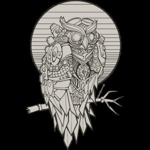 Steampunk Eule owl mechanisch geometrisch