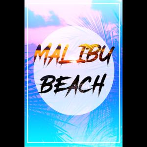 Malibu Beach Poster mit Palmenhintergrund