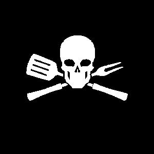 Grillen - Totenkopf mit Grillbesteck