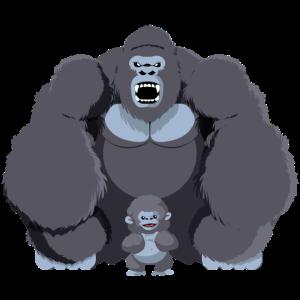 Gorilla mit Aeffchen grau