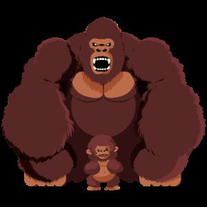 Gorilla mit Aeffchen braun