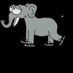Elefant beim Schlittschuhfahren