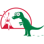 Dino mit Vulkan, T-Rex, Dinosaurier