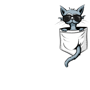 Kitty mit Sonnenbrille l Hipster Katze in Tasche