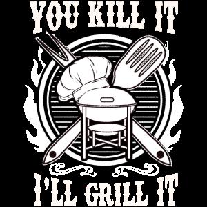 Lustiges Grillen Ernstes draußen kochen Grillen
