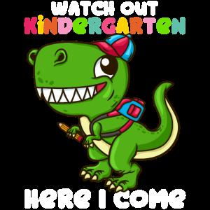 Kindergarten Beginn T-Shirt Kinder Eltern Dino