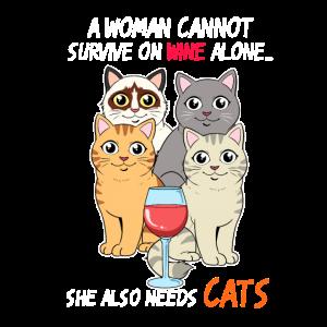 Katzen Frau Lady Wein Rotwein Katze