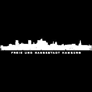 Freie und Hansestadt Hamburg Skyline Weiß