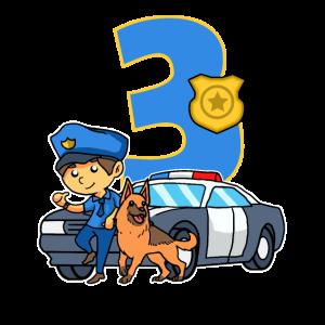 3. Geburtstag Polizei Polizeiauto 3 Jahre Polizist
