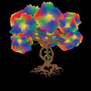 Friedensschild Hippie Baum Batik Weltgeschenk
