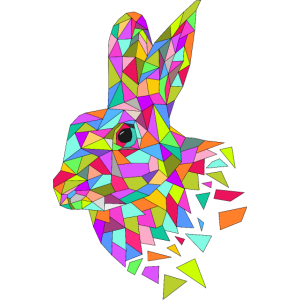 Kaninchen low poly Polygone bunt