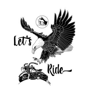 FRONT: 1 eagle 1 bike, BACK: 3 eagles 2 bikes.