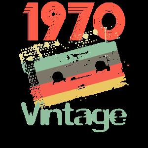1970 Retro Vintage Kassetten 50. Geburtstags Shirt