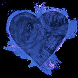 blaues Herz aus Tinte