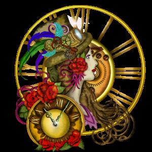 Zeitreisende Timelady mit Hut und Uhr - Steampunk