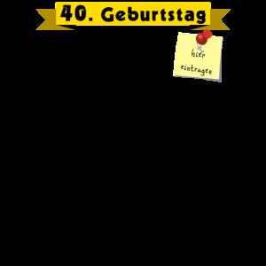 40. Geburtstag Gästeliste zum Unterschreiben