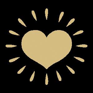 Goldenes Herz mit Strahlen