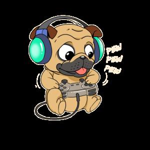 Mops Hund Hündchen Gamer Gaming Online Videospiel