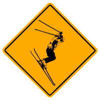 Ski Alpine Road Sign