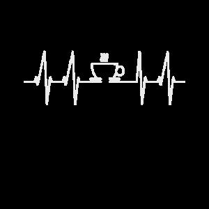 Herzschlag Kaffee Liebe EKG Heartbeat Geschenk
