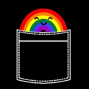 Lustiger Regenbogen in der Brusttasche Gschenk