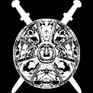 Schwert und Schild weiss