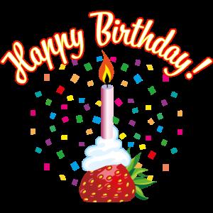 07 Geburtstagstorte Erdbeere Kerze Happy Birthday