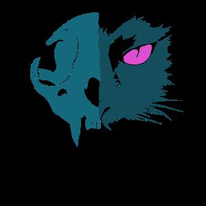 Katzenkopf Halloween Skelett Grusel