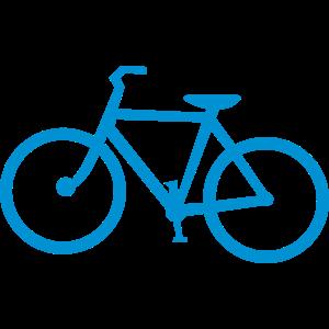 Blaues Fahrradfahrrad mit Pedalen