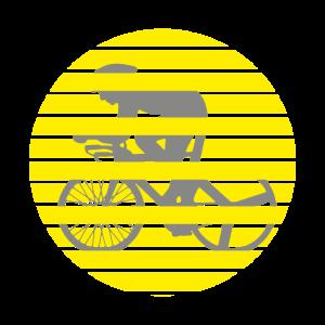 Rennradfahrer gelber Kreis Rennrad