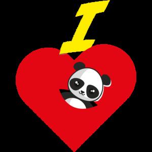 Ich liebe Pandas Herz Pandabär Pandabärchen