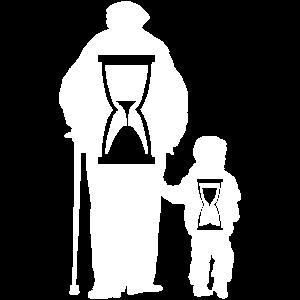 Opa mit Kind & Sanduhr, Lebenszeit ist vergänglich