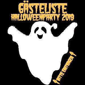 Halloween Party 2019 Gästeliste zum Eintragen