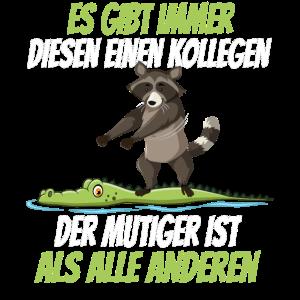 Lustiges Kollegen Waschbär Krokodil Abschied Shirt