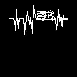 Wohnmobil Herzschlag T-Shirt I Camping EKG Camper