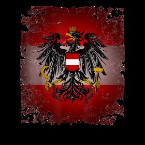 Oesterreich T Shirt Rot Weiss Rot mit Adler Retro