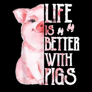 Nettes Schwein T Shirt fuer Frauen Life is Bette