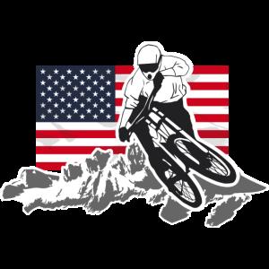 Downhill Moutainbiking - Mountains & USA Flag