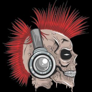 Totenschädel Punk Irokese mit Kopfhörern
