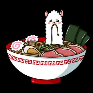 Lama Nudel Ramen Chinesisch Suppe Alpaka Guanako