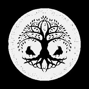 Weltesche mit Raben und nordischen Knoten Kreis