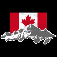 Canada - Maple Leaf- Mountains & Flag