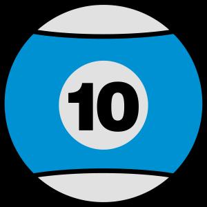 Billardkugel No 10 - blau - V3