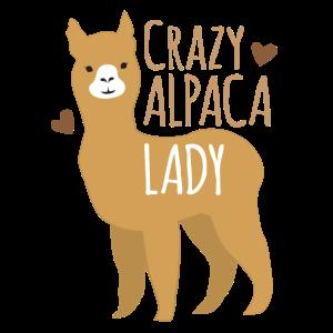 Verrückte Alpakadame mit Liebesherzen